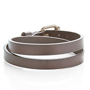'Buckle Up' Bronze & Brown SM Wrap Personalized Leather Bracelet