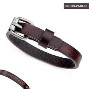 'Buckle Up' Silver & Brown SM Strap Personalized Leather Bracelet