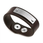 Personalized Child's Brown Leather ID Bracelet