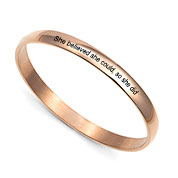 Rose Gold Bangle Personalized Bracelets for Her