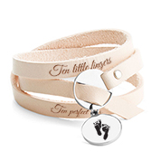 Baby Feet Jewelry - Engraved Leather Wrap Bracelet