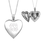 Belle Sterling Silver Engraved Locket Necklace