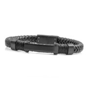 Black Leather Personalized Bracelet for Him