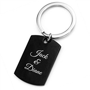 Black Stainless Dog Tag Personalized Keychain