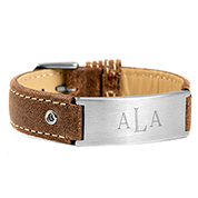 Casual Cocoa Leather Engraved Bracelet