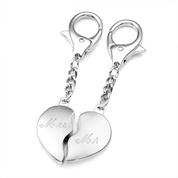 Split Heart Silver Personalized Keychains