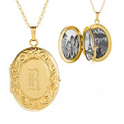 Charming 14K Gold 4 Photo Ornate Personalized Locket Necklace
