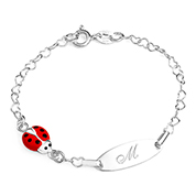 Engraved Child ID Bracelet with Ladybug charm