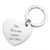 Brushed Steel Hearts Personalized Keychains