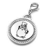 Round Silver Engravable Charm Pendant