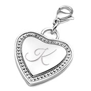 Silver Engraved Heart Charm Pendant