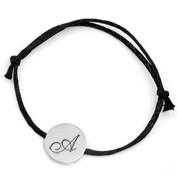 Unisex Black Cotton Steel Engraved Bracelet
