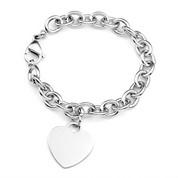Personalized Silver Heart Charm Bracelet 7 Inch