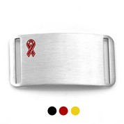 Black, Red or Yellow Ribbon Stainless ID Tags