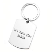 Large Stainless Steel Dog Tag Engraved Keychain