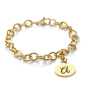 Bold Gold Link Engravable Bracelets for Her