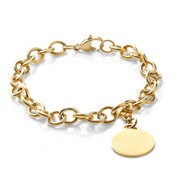 Personalized Gold Cable Link Charm Bracelet 7 In