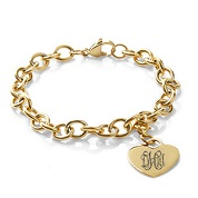 Engraved Gold Cable Link Heart Charm Bracelet for Her