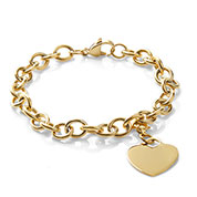 Engraved Gold Cable Link Heart Charm Bracelet 7 In