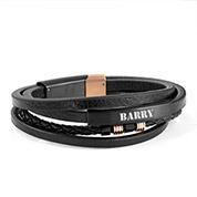 Custom Leather Stack Engraved Bracelet