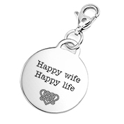Custom Engraved Round Silver Charm with Lobster Clasp