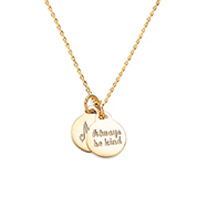 Dainty Twin Engravable Gold Charm Necklace