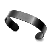 Deep Black Steel Personalized Cuff Bracelet