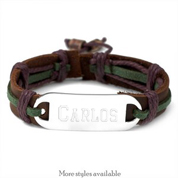 Deep Forest Hemp and Leather Personalized Bracelets