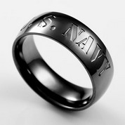 Black Steel US Navy Engraved Rings