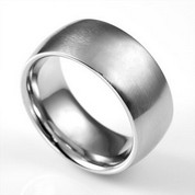 Wide Band Brushed Steel Engravable Rings