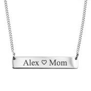 Adjustable Engravable Silver Bar Necklace