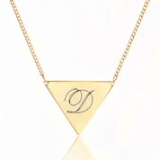 Engraved Gold Triangle Necklace 18 - 21 In Adjustable