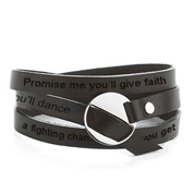 Engravable Black Leather Wrap Bracelet