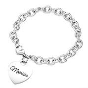 Engravable Silver Heart  Bracelet 7 inch