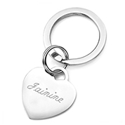 Engraved Polished Stainless Heart Keychain