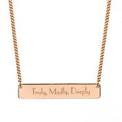 Engraved Rose Gold Bar Necklace