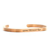 Engraved Rose Gold Dainty Cuff Bracelet Medium