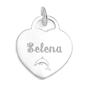 Engraved Sterling Silver 3/4 Inch Heart Charm or Pendant