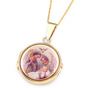 9k Gold Round 2 Photo Locket for Baptism - 3/4 inch