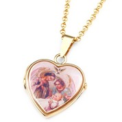 9k Gold Heart 2 Photo Locket for Baptism - 3/4 inch