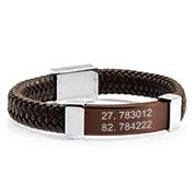 Gerard Leather Bronze Mens Engraved Bracelets
