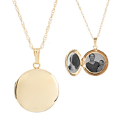 Gold Filled Round Engraved Lockets Necklace