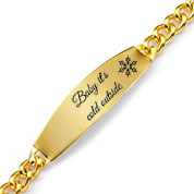 Gold Wide ID Personalized Bracelets