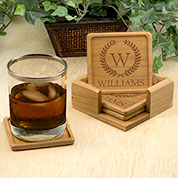 Holiday Wreath Custom Engraved Coaster Set