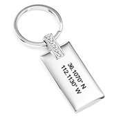 Crystal Personalized Coordinates Custom Keychain
