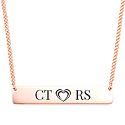 Initials N Heart Engraved Necklace for Her