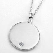 Apr Birthstone Sterling Silver Small Pendant