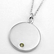 Aug Birthstone Sterling Silver Small Pendant