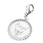 Bright Round Silver Engraved Charm