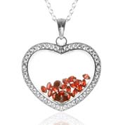 Astra January Birthstone Sterling Silver Heart Necklace